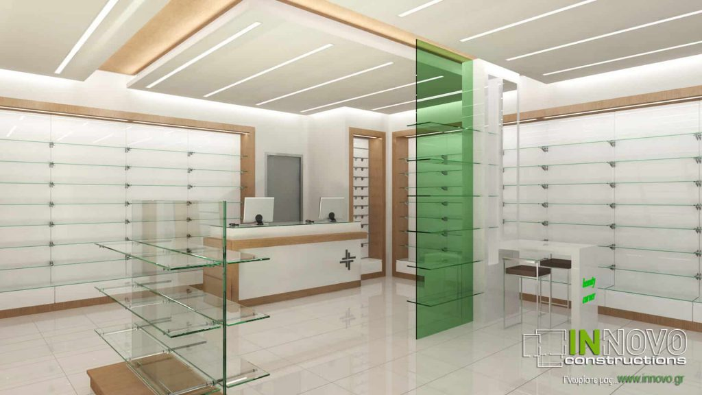 Μελέτη και Διακόσμηση Φαρμακείου στην Αθήνα από την Innovo Constructions